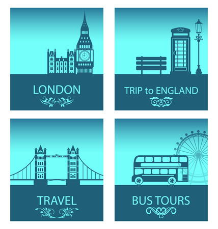 british culture: Illustration Abstract Postcards for Trip Of England with Silhouette Background of Abstract London Skyline and Symbols of London - Vector