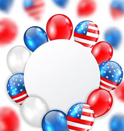national colors: Illustration Celebration Clean Card with Balloons in American National Colors - raster