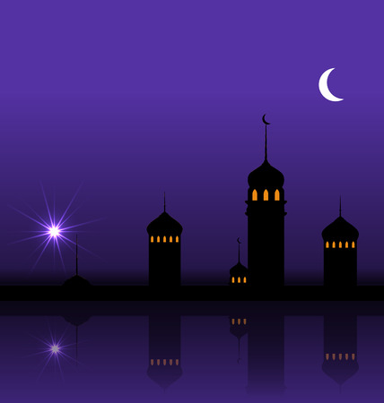 minarets: Illustration Ramadan Kareem Night Background with Silhouette Mosque and Minarets - raster
