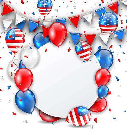 banderas america: Tarjeta de la celebración de la ilustración para las vacaciones americana, colorido Bunting, globos y confeti. Espacio para el texto - de trama
