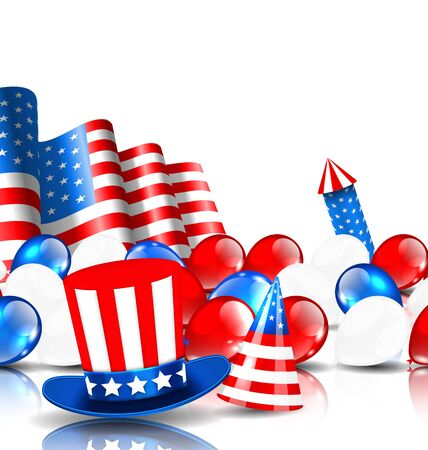 national colors: Illustration Festive Background in American National Colors - raster