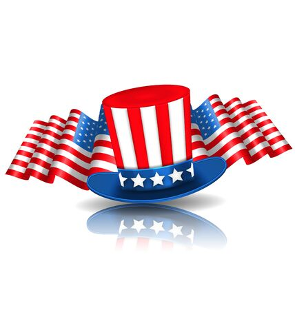 uncle sam hat: Illustration Festive Background in American National Colors with Uncle Sam Hat and Flags - raster