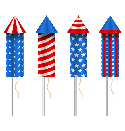 fourth birthday: Illustration Set of Pyrotechnic Rockets, with Traditional American Design for Fourth of July and Other Holidays of USA, Group Objects Isolated on White Background - raster