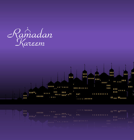 minarets: Illustration Ramadan Kareem Night Background with Silhouette Mosque and Minarets - Vector