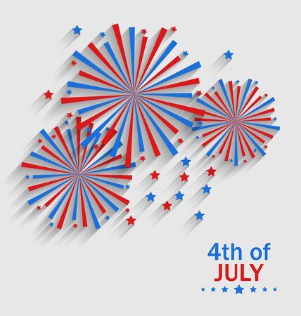 colorized: Illustration Firework Colorized in Flag US for Celebration Independence Day, Flat Style Long Shadow - Vector Illustration