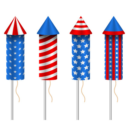 pyrotechnic: Illustration Set of Pyrotechnic Rockets, with Traditional American Design for Fourth of July and Other Holidays of USA, Group Objects Isolated on White Background - Vector Illustration