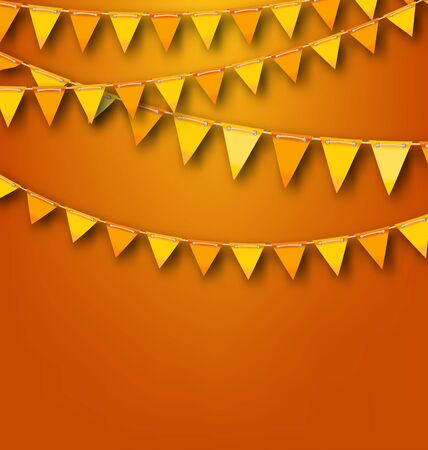 autumnal: Illustration Autumnal Decoration with Orange and Yellow Bunting Pennants. Copy Space for Your Text -