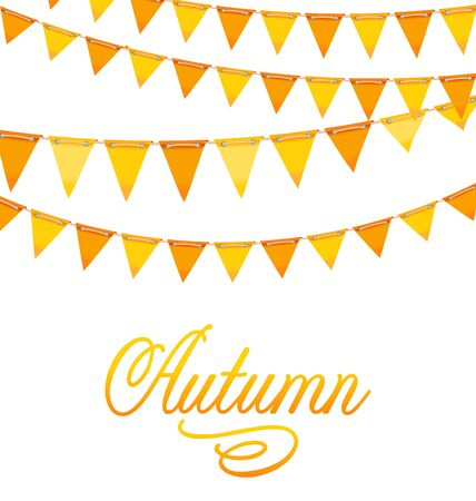 autumnal: Illustration Autumnal Decoration with Orange and Yellow Bunting Flags and Text - Stock Photo