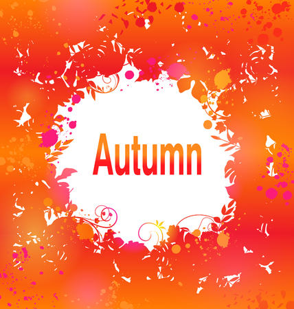 Illustration Autumn Grunge Background, Abstract Decorative Frame -