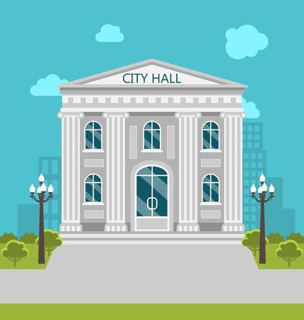 municipal: Illustration Municipal Building, City Hall, the Government, the Court. Urban Landscape -