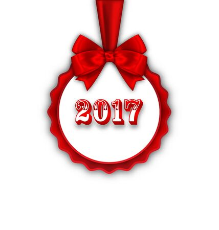 felicitation: Illustration Happy New Year 2017 Card with Red Silk Ribbon and Bow -
