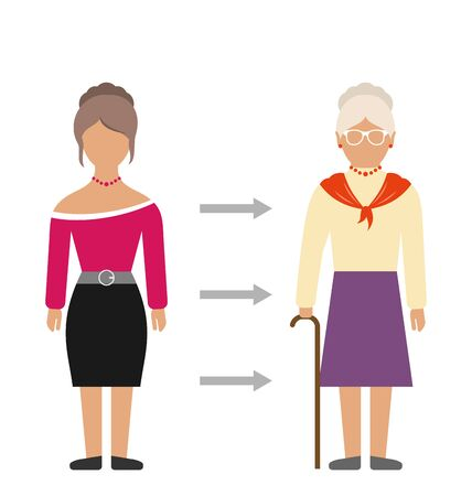 aging process: Illustration Concept of Aging Process, Young and Old Woman, Comparison. Colorful People Isolated on White Background -