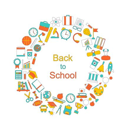school icon: Illustration Background for Back to School, Education Simple Colorful Objects, Line Art Style -