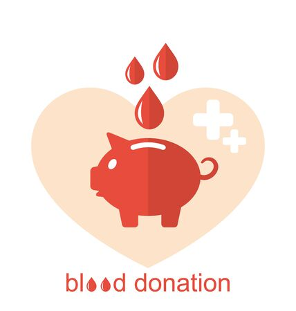 Illustration Concept Flat Medical Icons of Piggy Bank as Blood Donation -