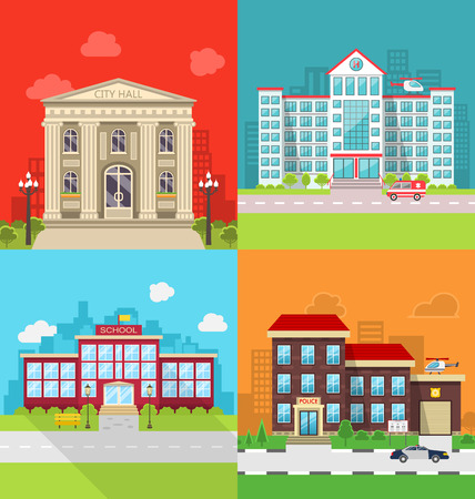 Illustration Set Municipal Buildings - City Hall, Hospital, School and Police Station. Colorful Banners with Architecture, Exterior, Cityscape -