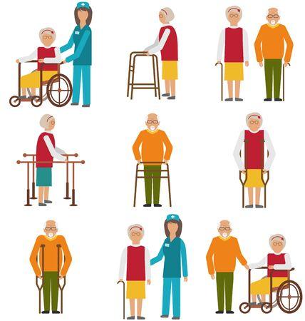 Illustration Set de personnes âgées handicapés. Personnes âgées dans des situations différentes avec les aidants naturels -