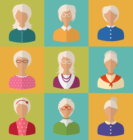 maturity: Illustration Old People of Faces of Women of Grey-headed. Grandmothers Characters. Heads of Pensioners. Females with Short and Long Hair. Cartoon Style Avatars. Flat Icons -