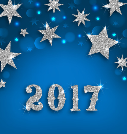 happy new year banner: Illustration Starry Silver Background for Happy New Year 2017, Glittering Luxury Wallpaper -