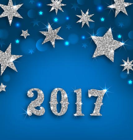 muerdago navideÃ?  Ã? Ã?±o: Ilustración estrellada de plata del fondo por Feliz Año Nuevo 2017, que brilla Papel pintado de lujo - Foto de archivo