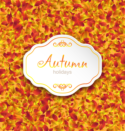 Illustration Autumn Card on Orange Leaves Texture, September Background - Vector