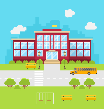 back yard: Illustration School Building, Background for Back to School - Vector