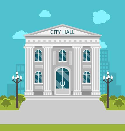municipal: Illustration Municipal Building, City Hall, the Government, the Court. Urban Landscape - Vector