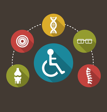 defects: Illustration Flat Colorful Icons Disabled with Limited Opportunities and Birth Defects - Vector