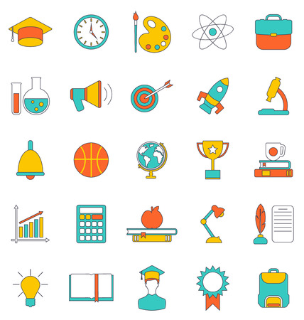 group of objects: Illustration Set Flat Line Colorful Icons of School Equipment and Tools. Modern Trend Design. Group Objects Isolated on White Background - Vector