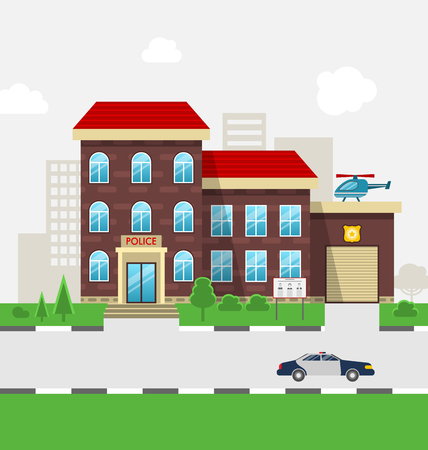 Illustration City Police Station Department Building in Landscape with Police Car, Cityscape - Vector