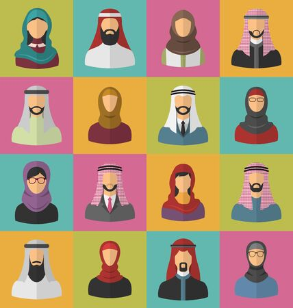 traditional clothing: Illustration Set Arabic Men and Women, Heads and Headscarf, Portraits, Traditional Clothing in Arab Countries, Flat Icons - Vector