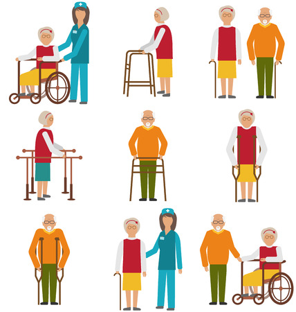 caregivers: Illustration Set of Older People Disabled. Elderly People in Different Situations with Caregivers - Vector