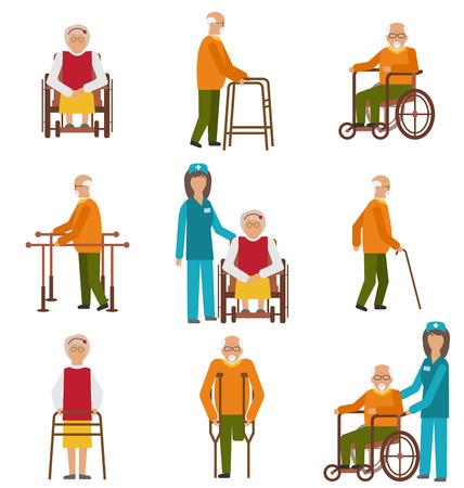 Illustration divers degrés de traumatismes et incapacités. Les femmes âgées et les hommes avec un bâton, Échasses, dans un fauteuil roulant. Icônes colorées isolé sur fond blanc - vecteur