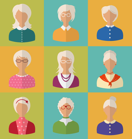Illustration Old People of Faces of Women of Grey-headed. Grandmothers Characters. Heads of Pensioners. Females with Short and Long Hair. Cartoon Style Avatars. Flat Icons - Vector Illustration