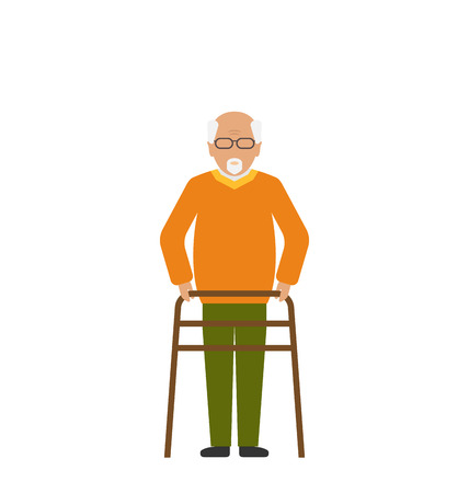 physiotherapy: Illustration Old Disabled Man Isolated on White Background. Cripple Male on Walker. Physiotherapy and Rehabilitation for Invalids -