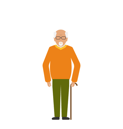 Illustration Old Disabled Man with Stick Crutch. Handicapped Male Isolated on White Background. Adult Human. Closeup of Aged Senior - Stock Photo