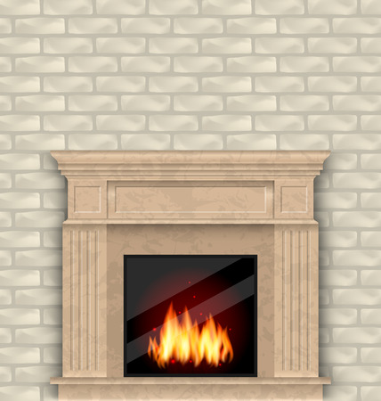 cold room: Illustration Realistic Marble Fireplace with Fire in Interior, Brick Wall -