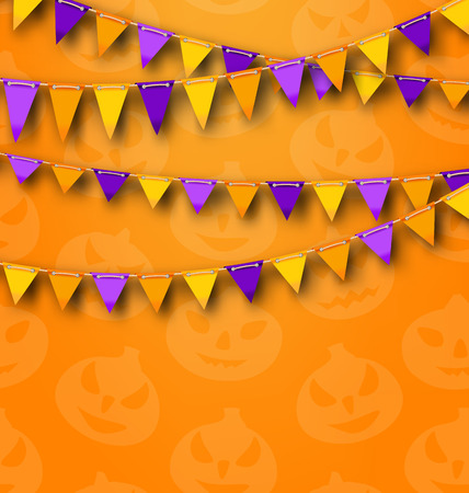 31th: Illustration Halloween Party Background with Colored Bunting Pennants, Backdrop with Pumpkins -
