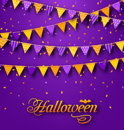 hanging string: Illustration Halloween Party Background with Hanging Triangular String -