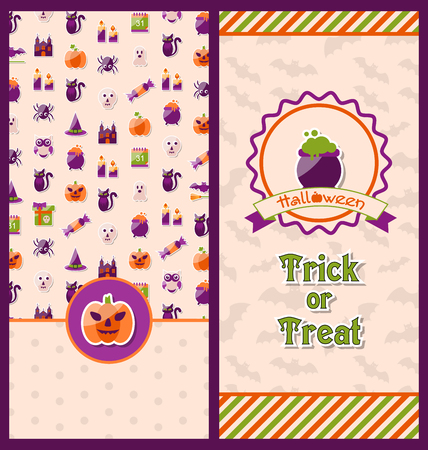 besom: Illustration Halloween Postcards. Vertical Banners. Party Invitations with Flat Icons. Trick or Treat -
