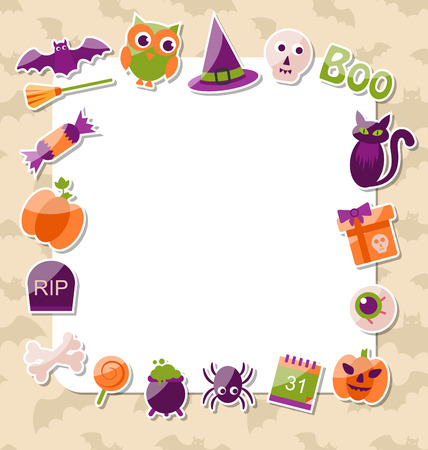 Illustration Clean Card with Colorful Halloween Flat Icons -