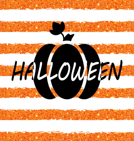 31th: Illustration Glitter Orange Wallpaper for Happy Halloween with Pumpkin. Party Flyer. Holiday Template -