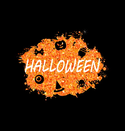 31th: Illustration Glowing Orange Template for Happy Halloween Party. Holiday Bright Flyer-