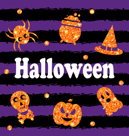 illustration illustration halloween party banner with shine orange traditional icons holiday template