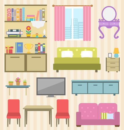 bedside: Illustration Set of Colorful Furniture of Room for Your Interior of Apartment. Flat Icons and Objects: Sofa, Bed, Lamps, Bedside Tables, Bookcase and Books, Boudoir, Table, Chairs, Window - Stock Photo