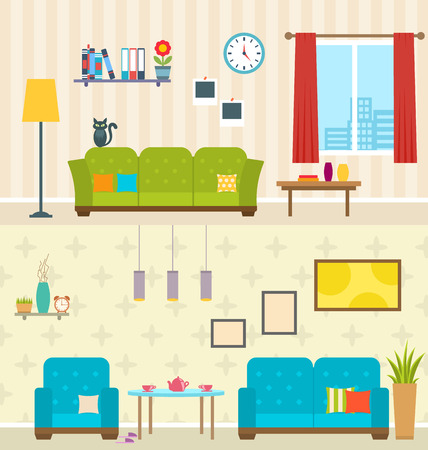 living rooms: Illustration Set of Interiors of Living Rooms. Decoration of Modern Apartments. Minimalism Style. Home Furniture -