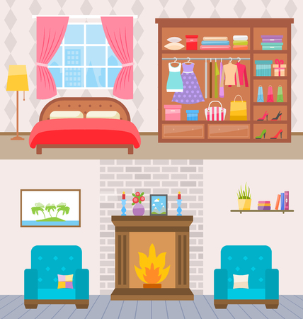 living room window: Illustration Bedroom with Furniture, Window and Wardrobe. Living Room with Armchairs and Fireplace -