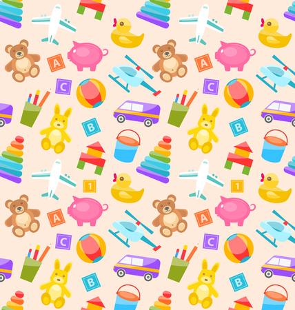 joys: Illustration Seamless Pattern with Colorful Children Toys. Funny Texture with Cartoon Baby Joys Illustration