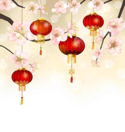 Illustration Background with Cherry Blossom and Hanging Lanterns, Spring Japanese Festival