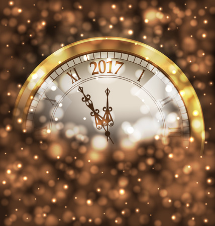 Illustration 2017 New Year Midnight, Glowing Background with Clock
