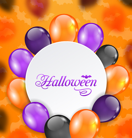 31th: Illustration Halloween Greeting Card with Colored Balloons